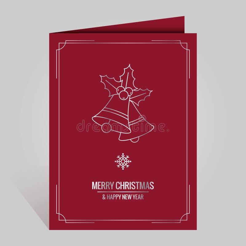 Cartolina di Natale con le campane d'annata di natale dell'argento su fondo rosso illustrazione vettoriale