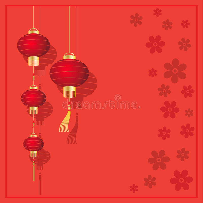 Cartolina di Natale con le lanterne cinesi illustrazione di stock