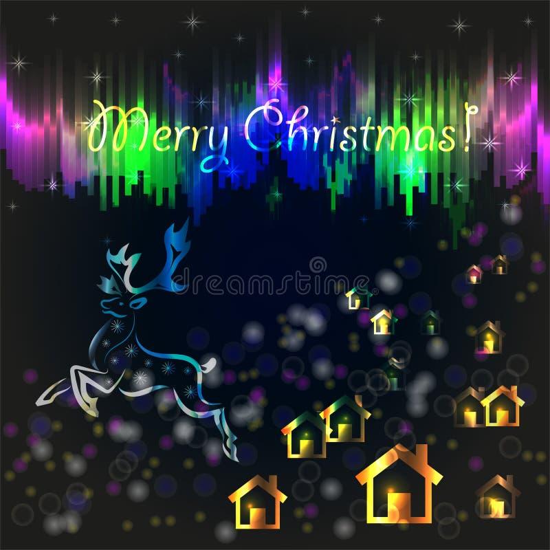 Cartolina di Natale con le luci polari illustrazione di stock