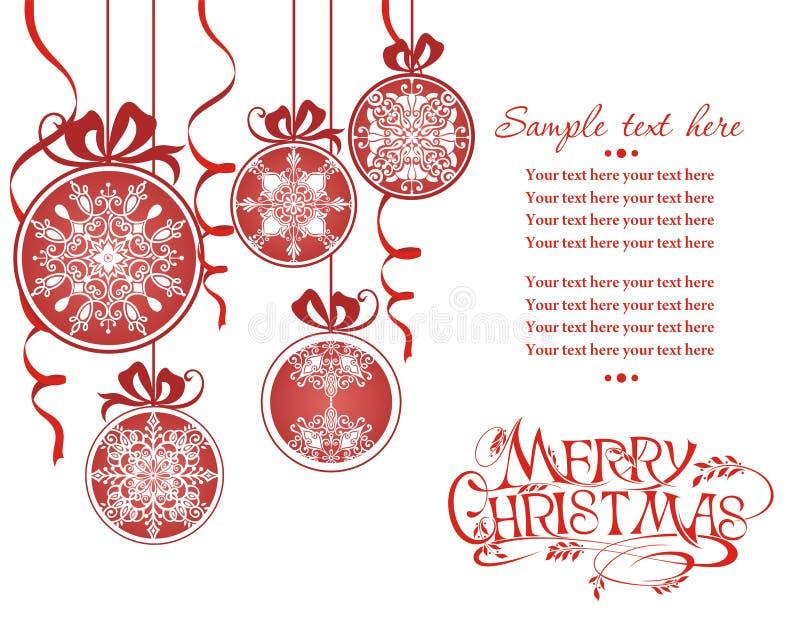 Cartolina di Natale con le sfere rosse Palla di Natale illustrazione vettoriale