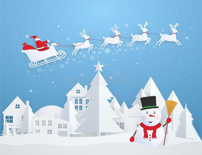 Cartolina di Natale con Santa Claus che sorvolano città ed il pupazzo di neve illustrazione vettoriale