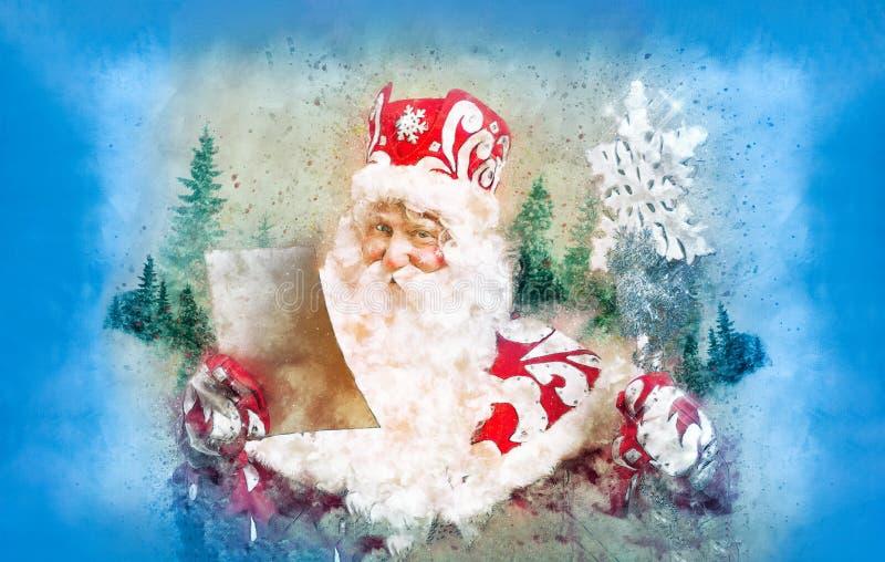 Cartolina di Natale con Santa Claus divertente fotografia stock libera da diritti