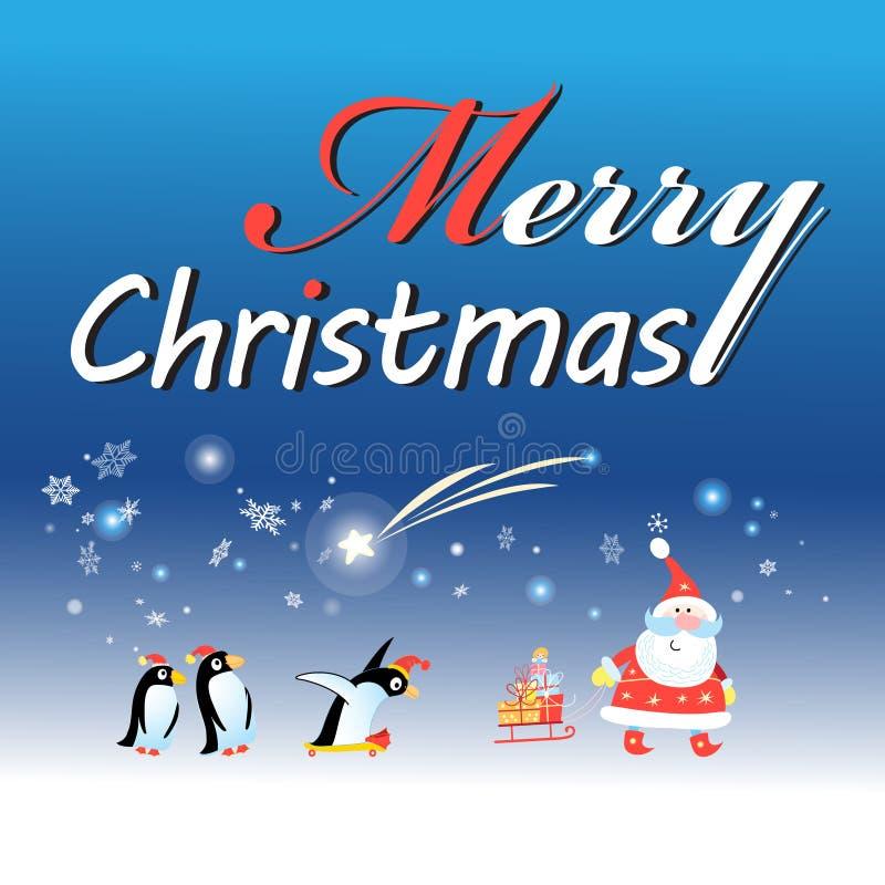 Cartolina di Natale con Santa Claus e un pinguino illustrazione vettoriale