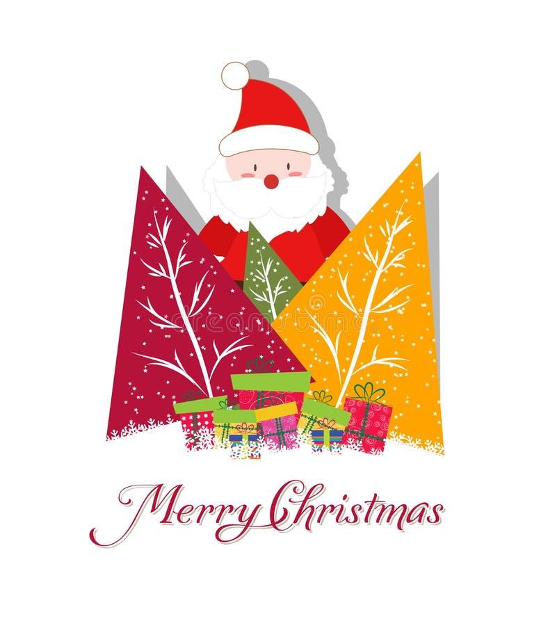 Cartolina di Natale con Santa Claus, gli alberi di Natale ed il regalo illustrazione di stock
