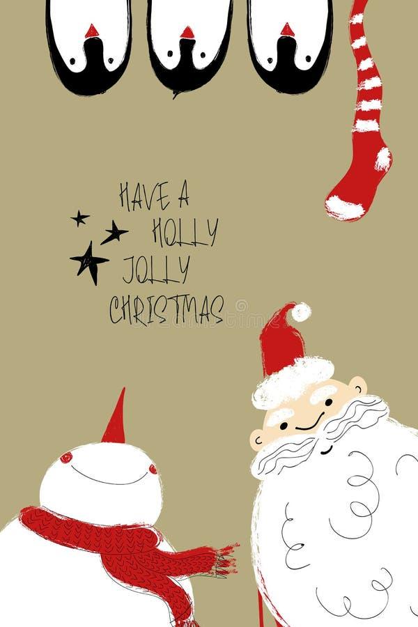 Cartolina di Natale con Santa, il pupazzo di neve ed i pinguini royalty illustrazione gratis