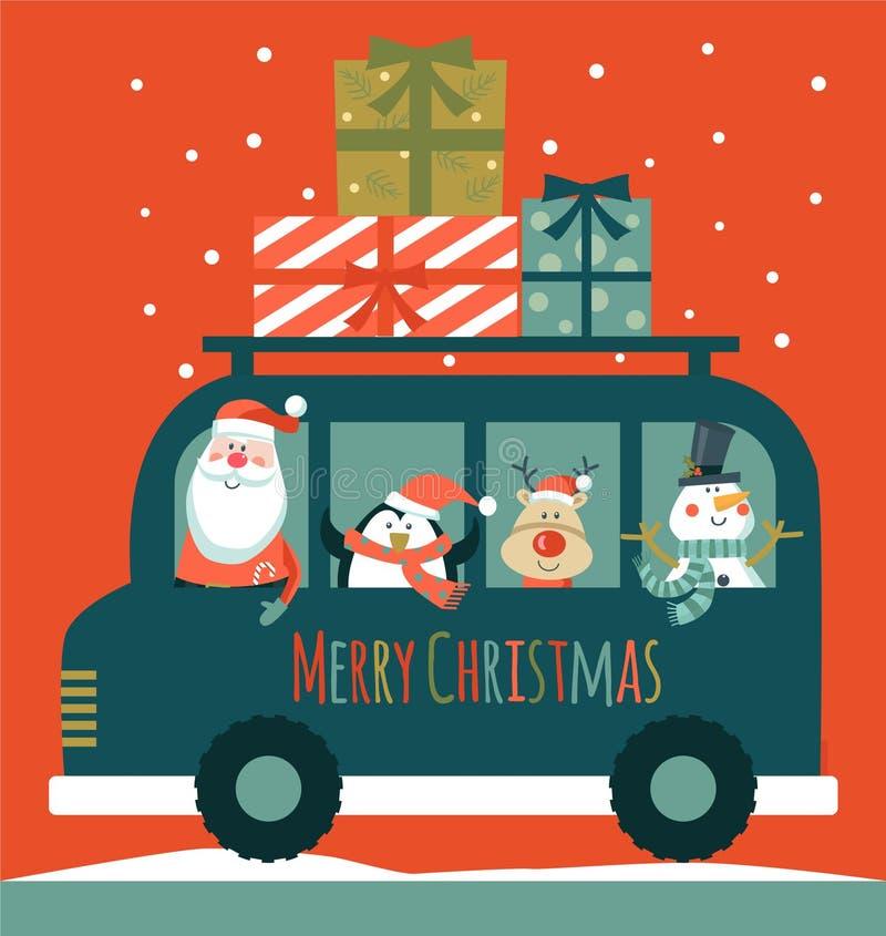 Cartolina di Natale con Santa pupazzo di neve, cervi e pinguino , royalty illustrazione gratis