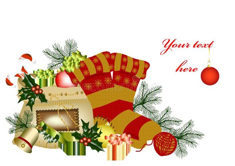 Cartolina di Natale con spazio per il vostro testo illustrazione vettoriale