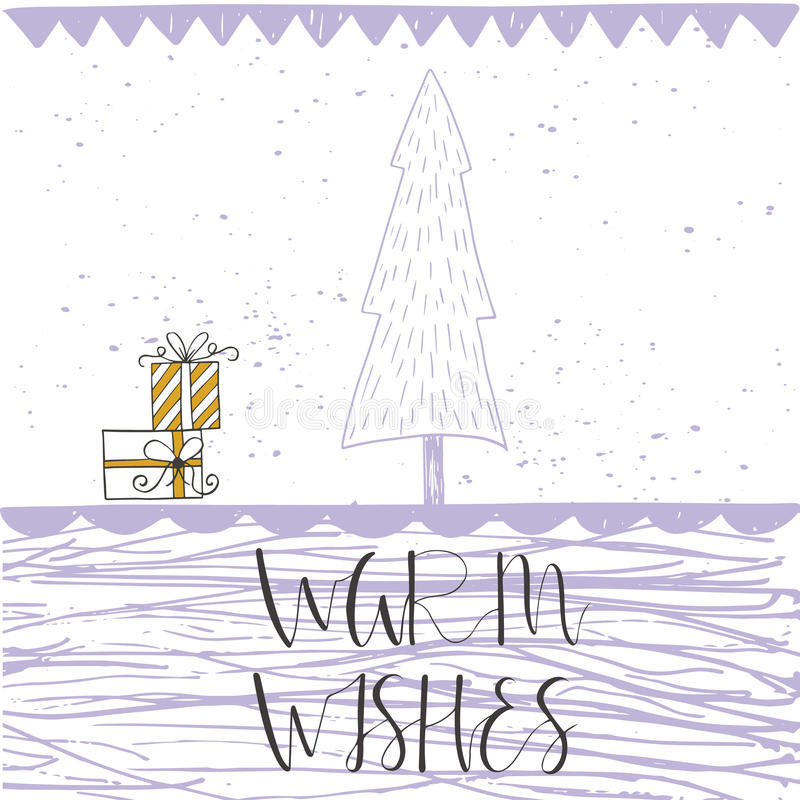 Cartolina di Natale con testo, l'albero ed i presente su un fondo di inverno illustrazione di stock