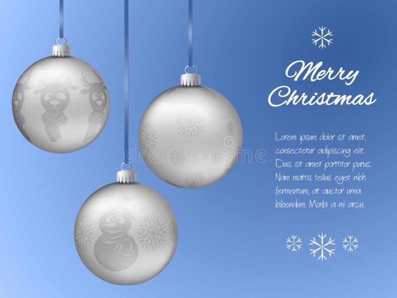 Cartolina di Natale con tre pendenti d'argento sotto forma di una palla Fiocchi di neve decorati, renna, pupazzo di neve Backgrou illustrazione di stock