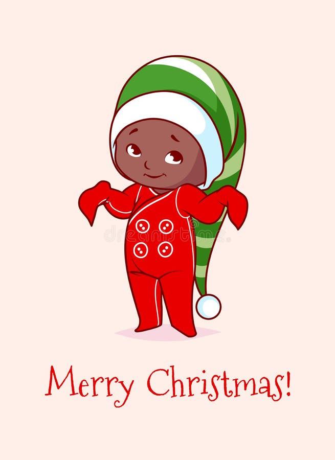 Cartolina di Natale con un bambino afroamericano sveglio illustrazione di stock