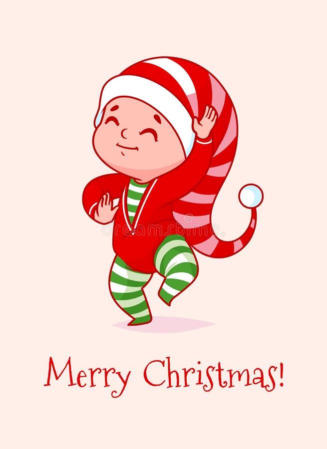 Cartolina di Natale con un bambino divertente di dancing illustrazione di stock