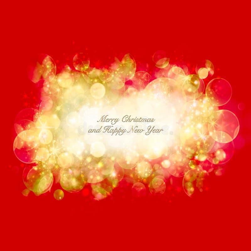 Cartolina di Natale con un bokeh brillante del partito immagini stock