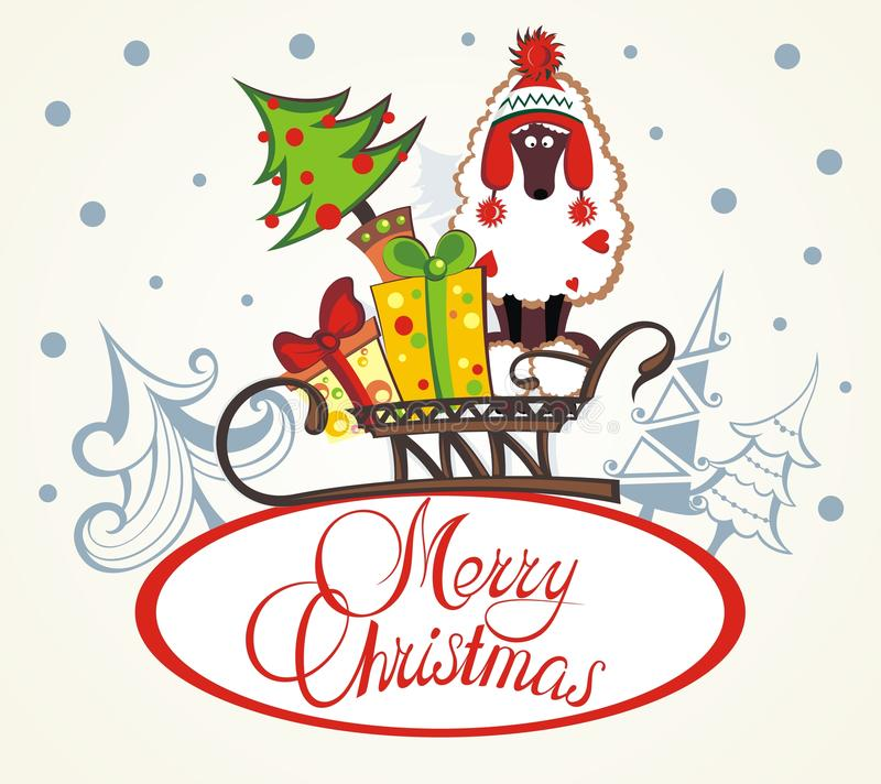 Cartolina di Natale con un cane illustrazione di stock