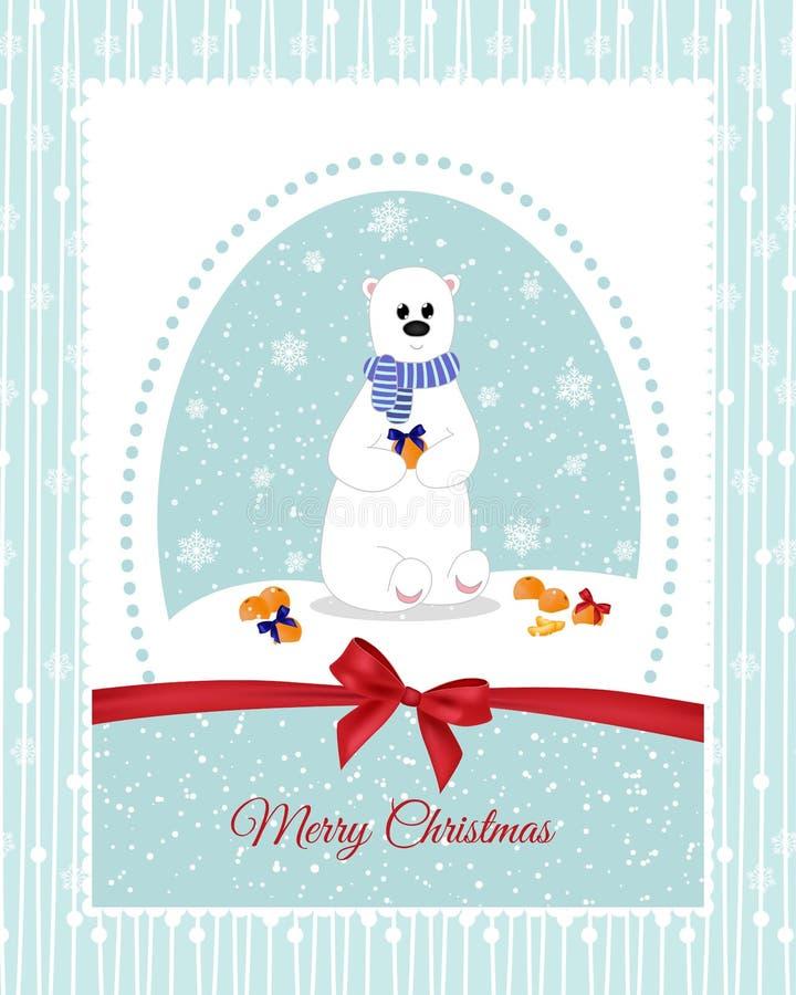 Cartolina di Natale con un orso polare, che decorano i bei archi dei mandarini feste illustrazione vettoriale
