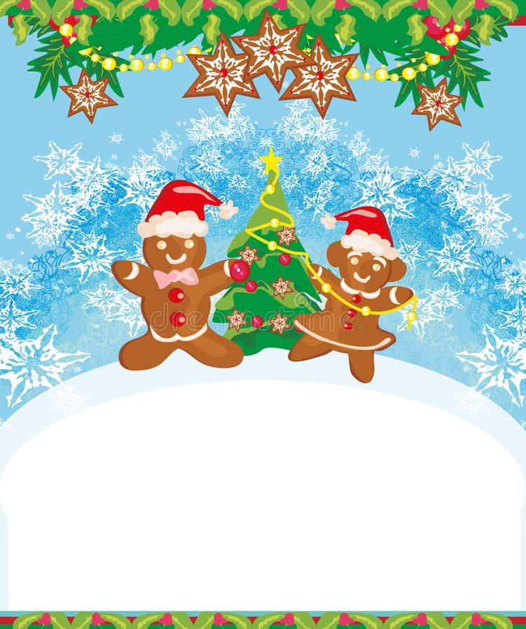 Cartolina di Natale con un pan di zenzero che decora l'albero di Natale royalty illustrazione gratis