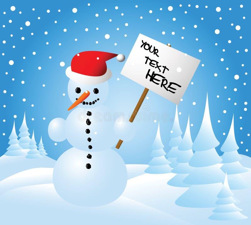 Cartolina di Natale con un pupazzo di neve royalty illustrazione gratis