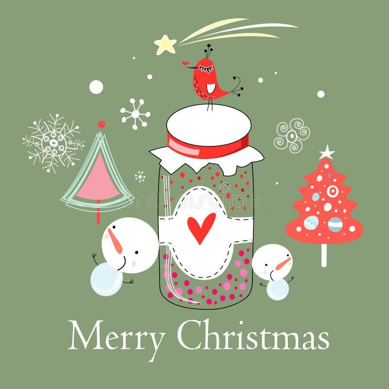 Cartolina di Natale con un uccello sulla banca illustrazione di stock