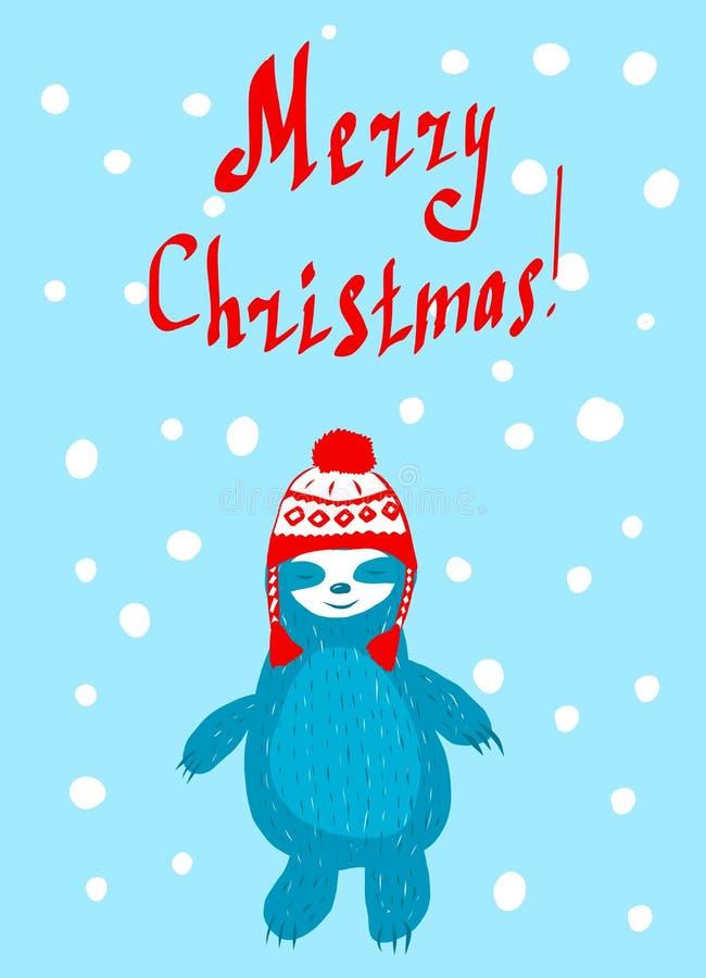 Cartolina di Natale con uno sveglio illustrazione vettoriale