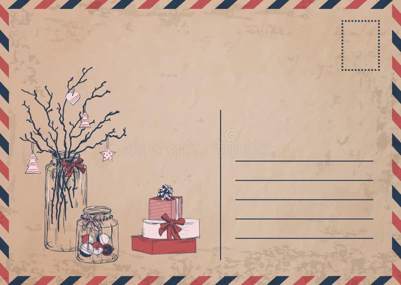 Cartolina di Natale d'annata con i regali ed i presente royalty illustrazione gratis