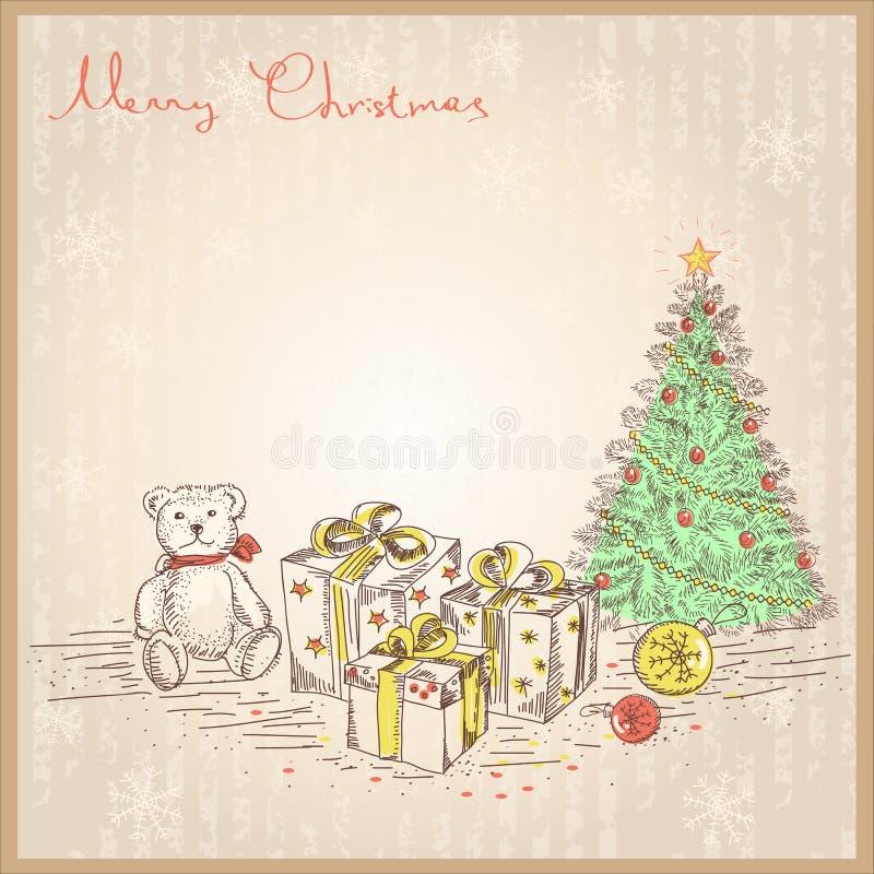 Cartolina di Natale d'annata con i regali ed i presente. Vec illustrazione di stock