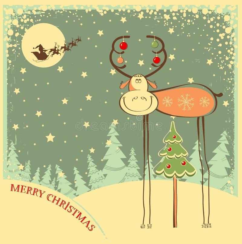 Cartolina di Natale d'annata con il toro divertente nella festa  illustrazione di stock