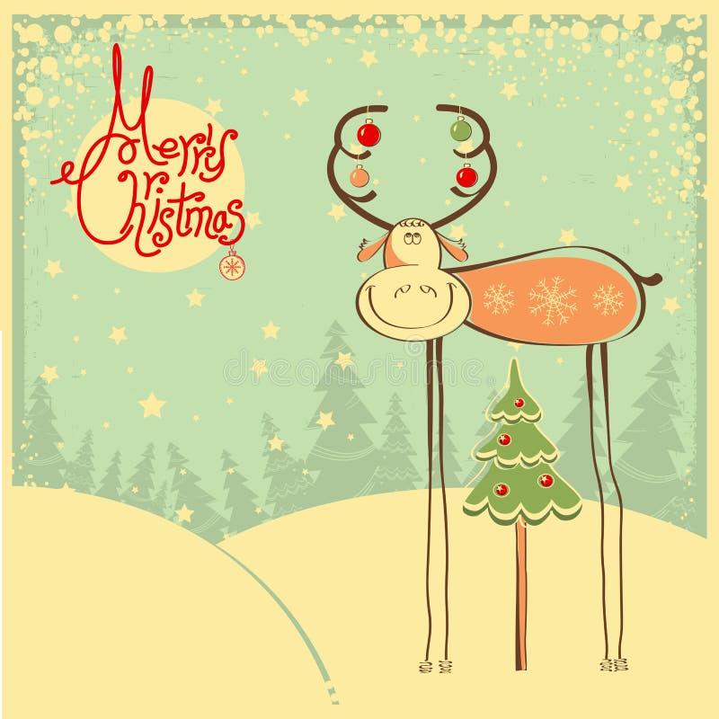 Cartolina di Natale d'annata con il toro e la neve divertenti franco royalty illustrazione gratis