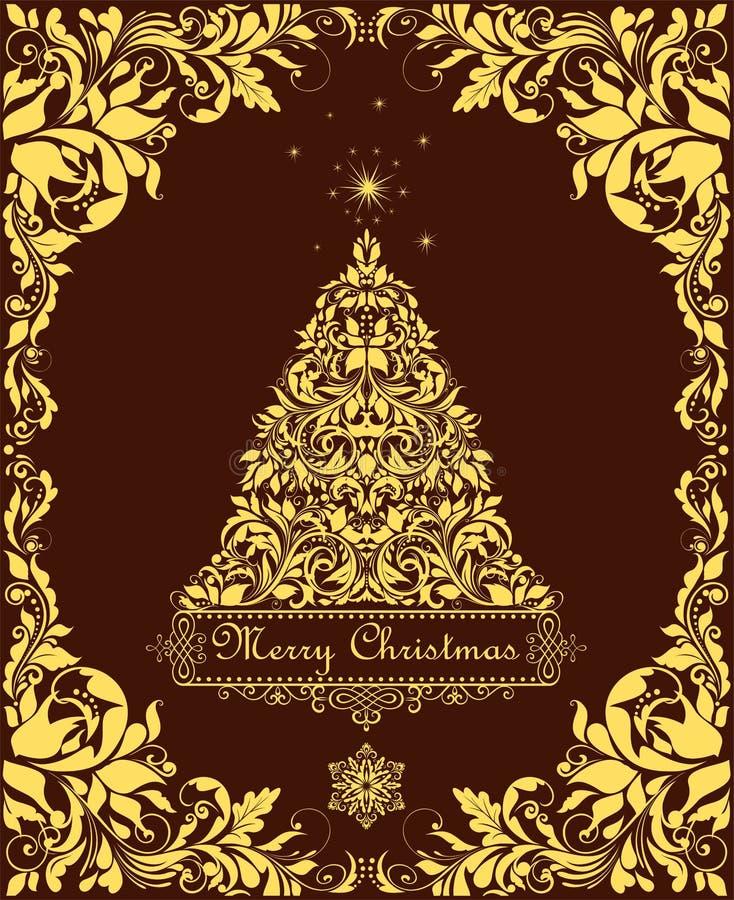 Cartolina di Natale d'annata con l'albero decorativo floreale dorato tagliato di natale e del confine per l'etichetta, i modelli, royalty illustrazione gratis