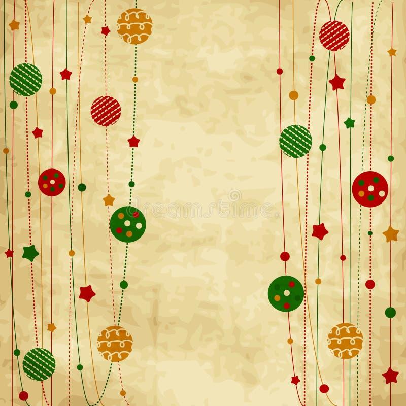 Cartolina di Natale d'annata con le palle e le stelle di natale royalty illustrazione gratis