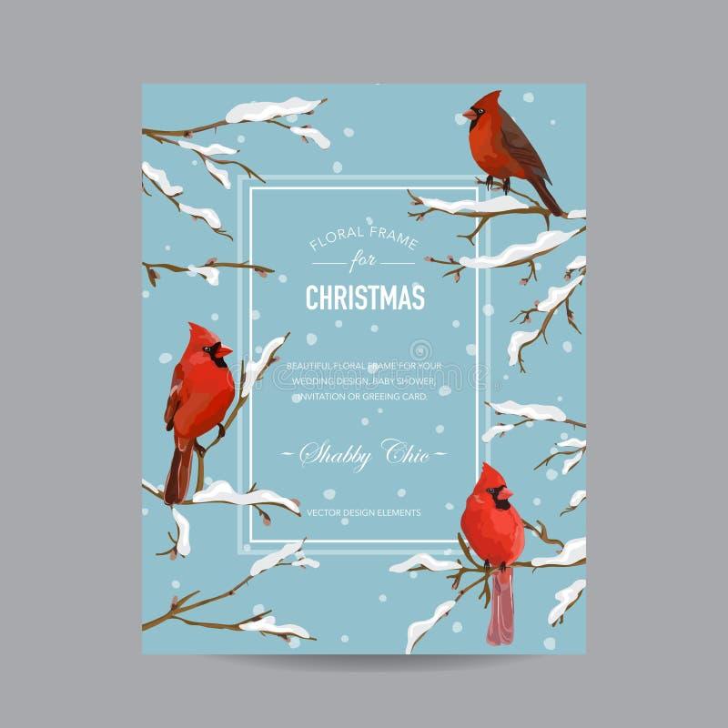 Cartolina di Natale degli uccelli di inverno royalty illustrazione gratis