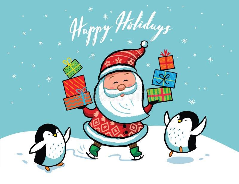 Cartolina di Natale del Babbo Natale royalty illustrazione gratis