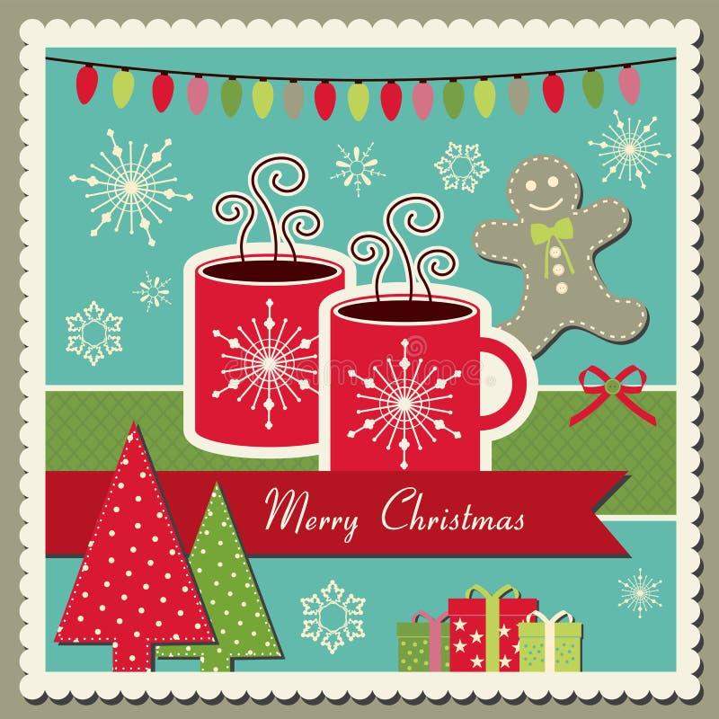 Cartolina di Natale del cioccolato caldo royalty illustrazione gratis