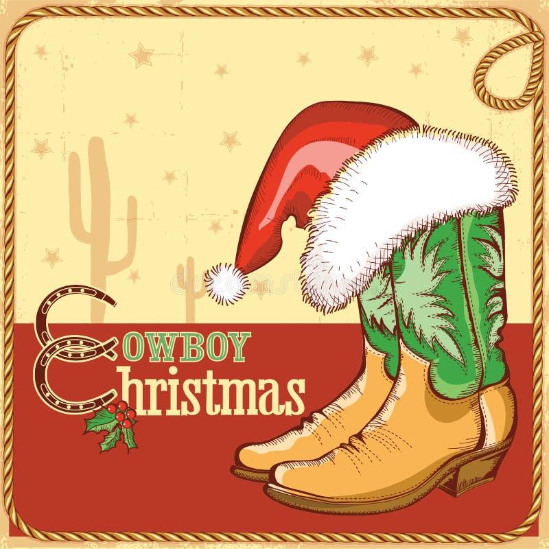 Cartolina di Natale del cowboy con gli stivali americani e Sant illustrazione di stock