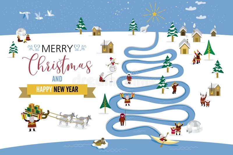 Cartolina di Natale del polo nord illustrazione vettoriale