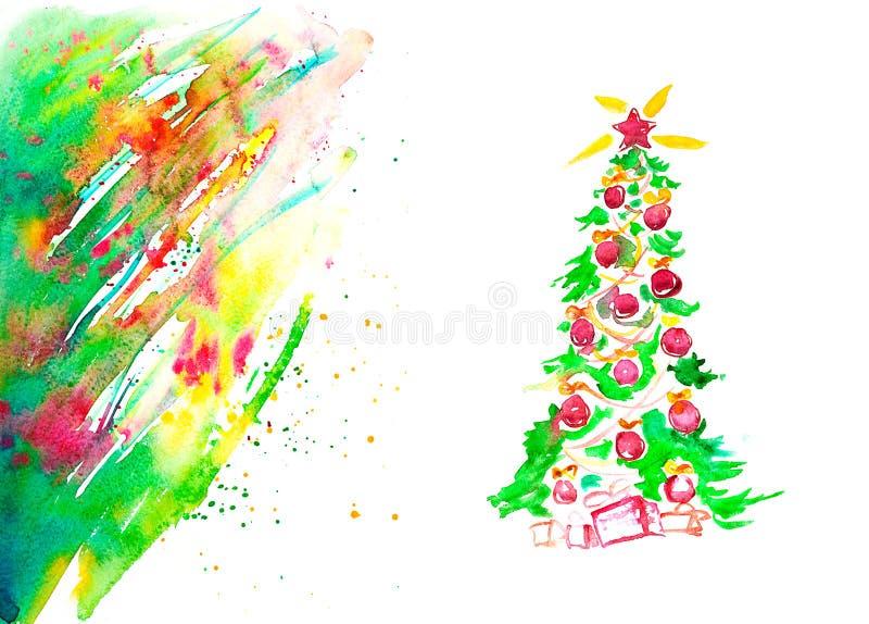 Cartolina di Natale dell'acquerello illustrazione vettoriale