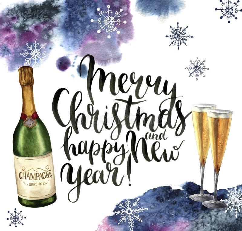 Cartolina di Natale dell'acquerello con champagne ed i fiocchi di neve Illustrazione di stagione con il Buon Natale ed il buon an illustrazione vettoriale