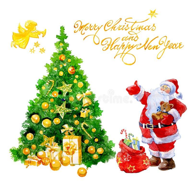 Cartolina di Natale dell'acquerello con i regali di Santa Claus ed albero di Natale ed angelo isolati illustrazione vettoriale