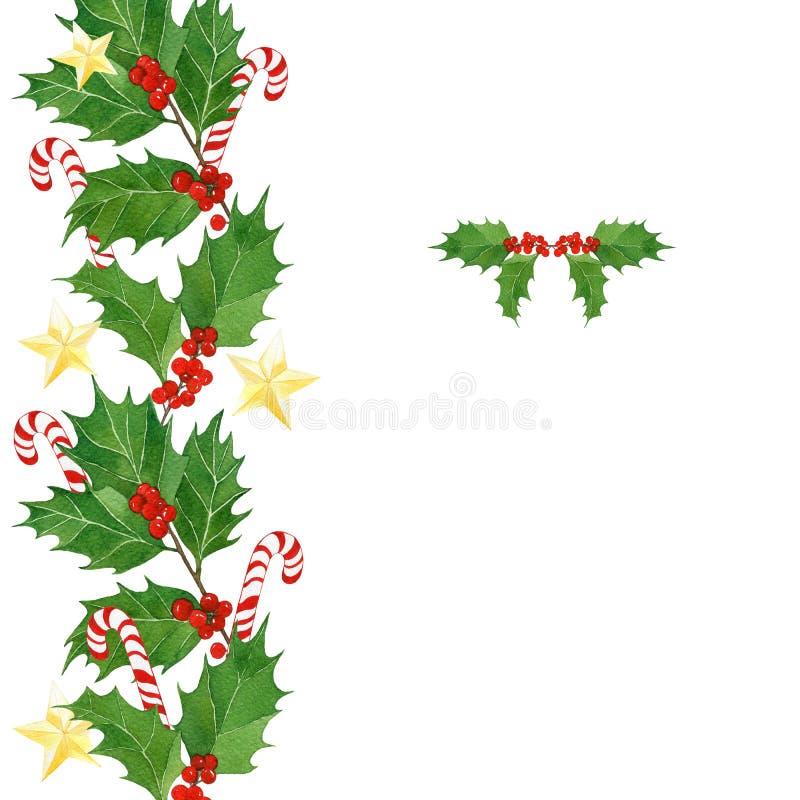 Cartolina di Natale dell'acquerello con le bacche dell'agrifoglio e le foglie, bastoncini di zucchero, stelle dorate illustrazione vettoriale