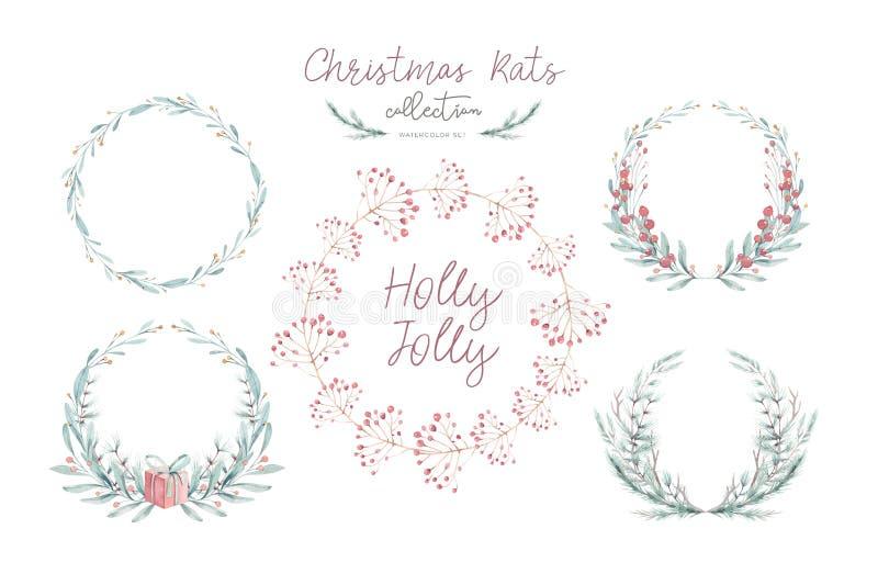 Cartolina di Natale dell'acquerello con wearth Decorazione di disegno di natale della mano Progettazione di vacanza invernale Cor immagine stock libera da diritti