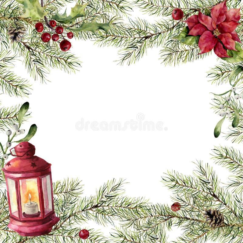 Cartolina di Natale dell'acquerello Ramo dell'abete con agrifoglio, il vischio, la stella di Natale e la lanterna rossa Confine d illustrazione di stock
