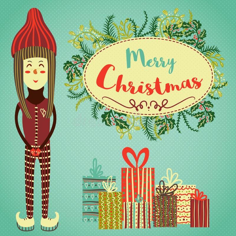 Cartolina di Natale dell'annata Piccoli pattinaggio su ghiaccio della ragazza, piante di natale e regali felici illustrazione di stock