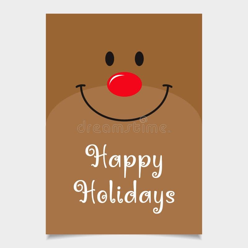 Cartolina di Natale della renna Progettazione felice di feste carta della renna del Rosso-naso immagini stock libere da diritti