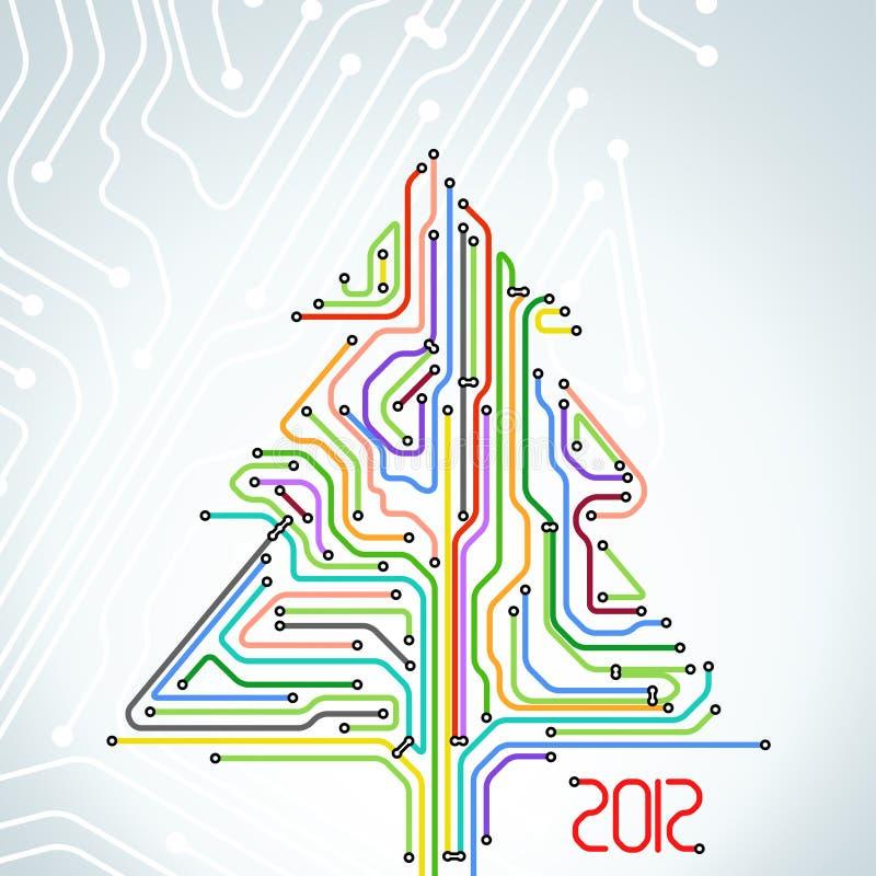 Cartolina di Natale dello schema variopinto della metropolitana illustrazione di stock