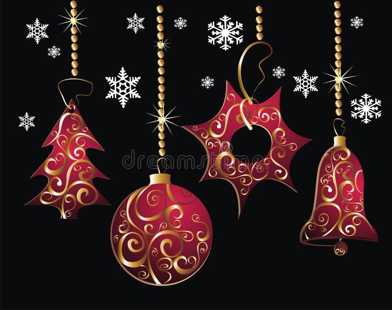 Cartolina di Natale di colore rosso di Beautifull illustrazione di stock