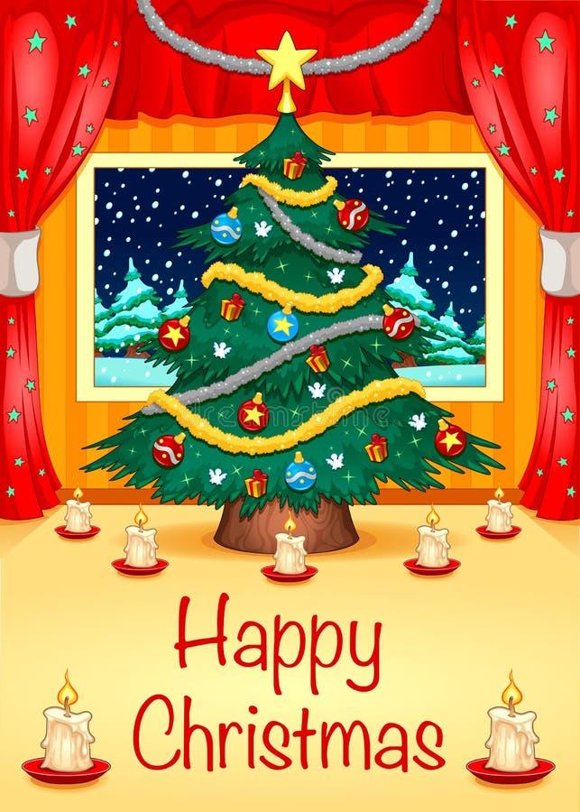 Cartolina di Natale di Hapy illustrazione vettoriale