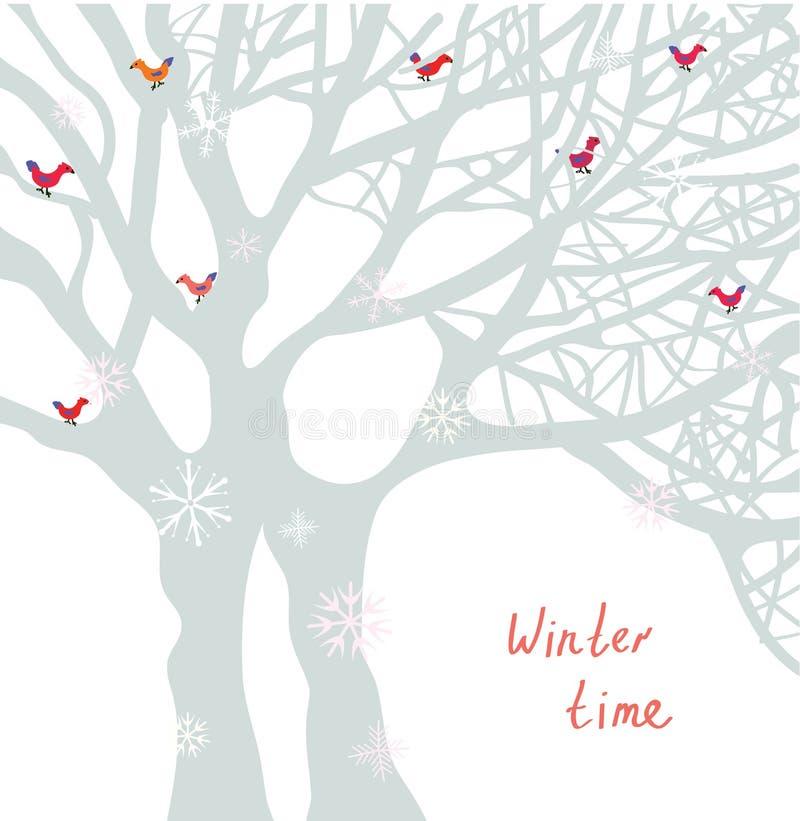 Cartolina di Natale di orario invernale con l'albero e gli uccelli illustrazione di stock