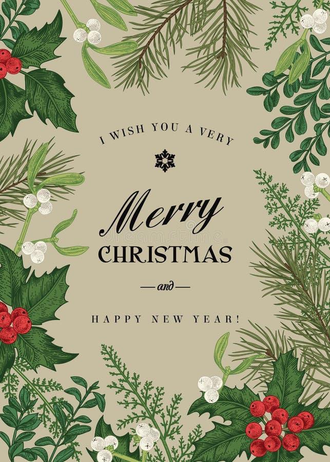 Cartolina di Natale di saluto nello stile d'annata royalty illustrazione gratis