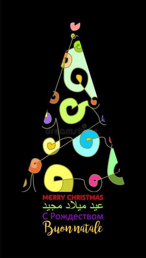 Cartolina di Natale differente e variopinta decorata con l'albero astratto di natale in parecchi INGLESI neri di lingue illustrazione vettoriale