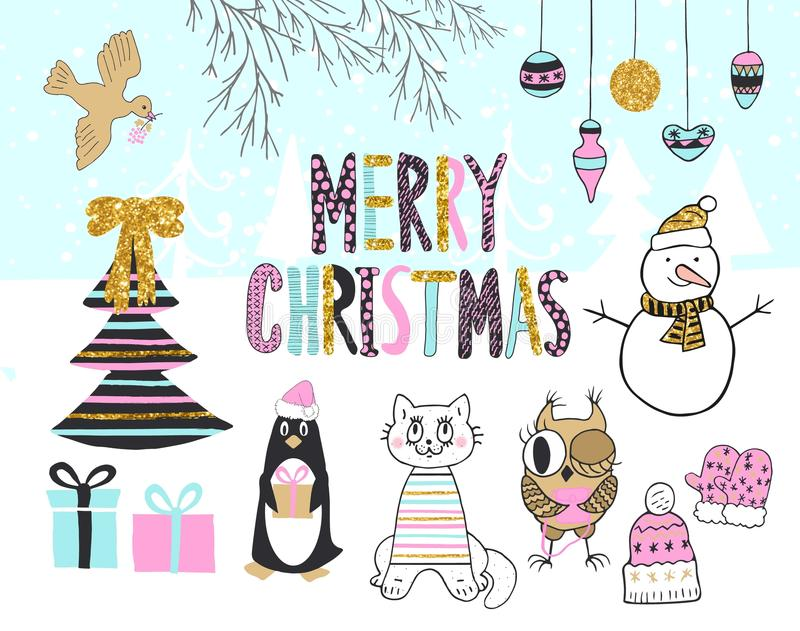 Cartolina di Natale disegnata a mano con il pinguino sveglio, il gatto, il gufo, il pupazzo di neve, l'uccello, l'albero, i prese illustrazione vettoriale