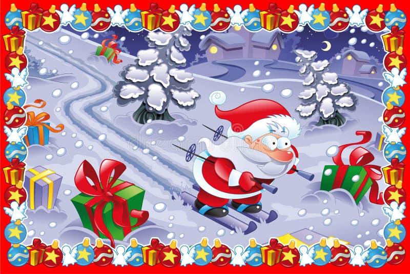 Cartolina di Natale divertente illustrazione di stock