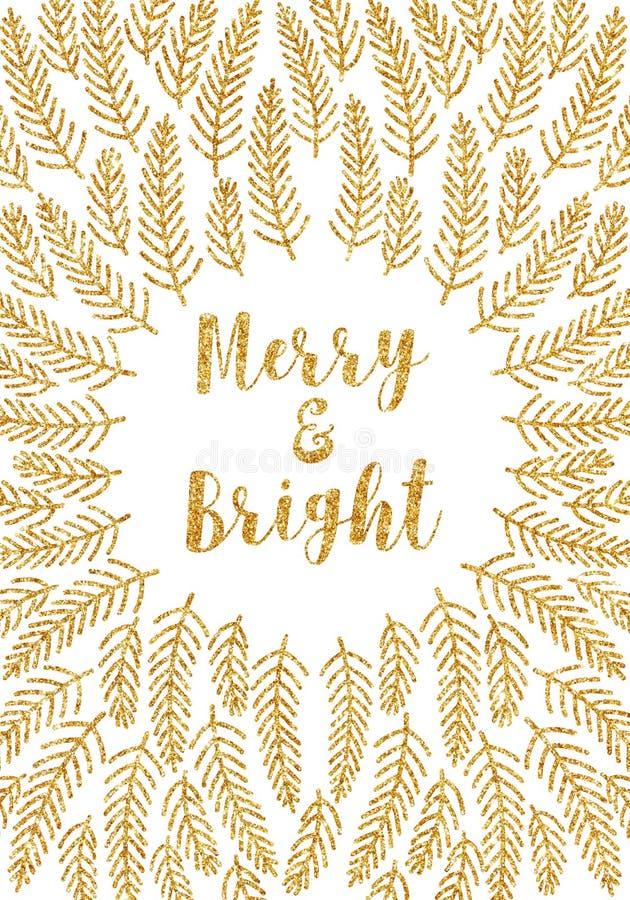 Cartolina di Natale dorata allegra e luminosa illustrazione vettoriale